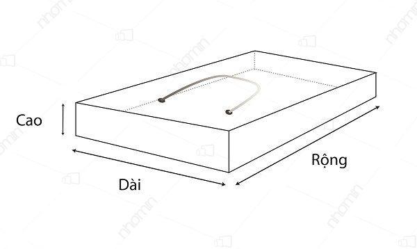 kích thước hộp quai xách dây dù