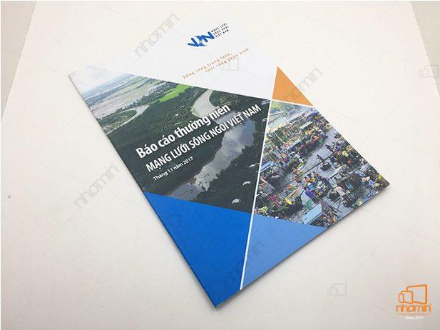 thiết kế in ấn catalogue báo cáo mạng lưới sông ngòi VN của VSN