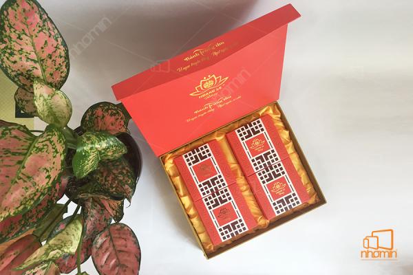 mẫu hộp bánh trung thu màu đỏ