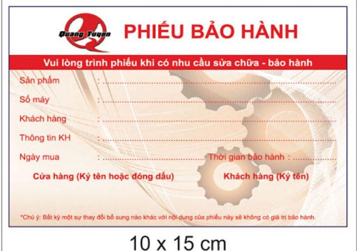 Dịch vụ in phiếu bảo hành tại TPHCM uy tín