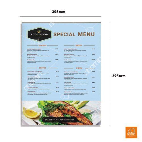 mẫu thực đơn menu kích thước A4