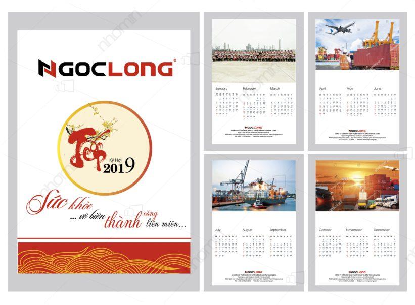 lịch treo tuong công ty kỹ thuật dịch vụ Ngọc Long